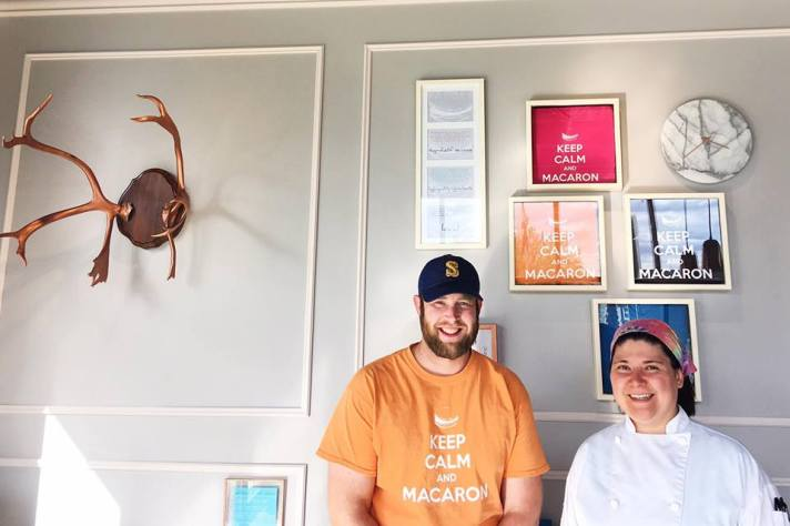Owner James Strong and executive pastry chef Sam Wagner pose in Sweet Caribou's new Anchorage patisserie.