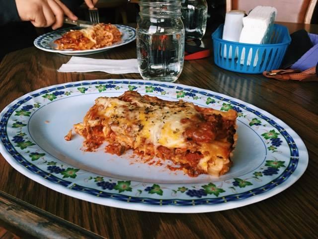 Lasagna at the Blue Bird Cafe.