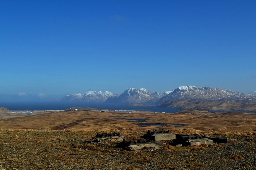 The town of Adak and the Pacific Ocean beyond as seen from White Alice, a Cold War era sattelite site.